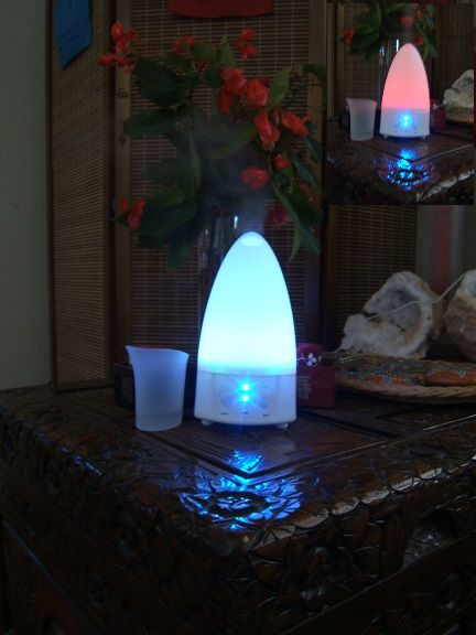 Aroma Diffuser ~ changes colour and has different vapour settings.