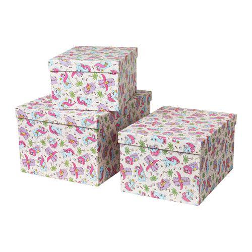 IKEA - STUNSIG, Kasten mit Deckel 3er-Set, Wenn man Kleinkram in so dekorativen Kästen sammelt, ist alles geordnet und bei Bedarf schnell zur Hand.Verspielte Muster auf allen Seiten sorgen für Abwechslung.Der Deckel schützt den Inhalt und macht die Box stapelbar.