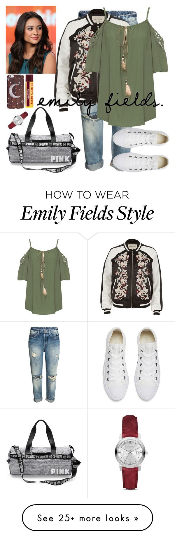 """Emily Fields"" by xthaizx on Polyvore featuring River Island, WearAll, Burberry and Converse"