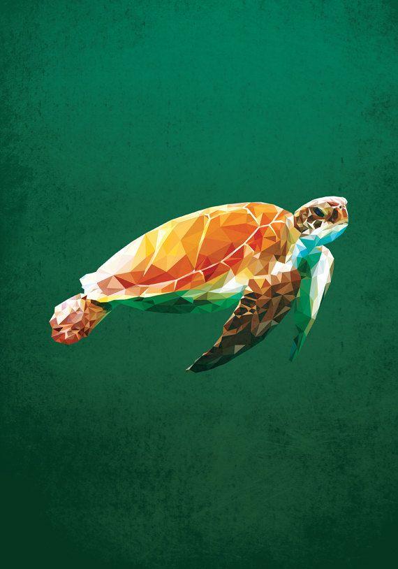 Sea Turtle Geometric Poly Polygon Poster Art