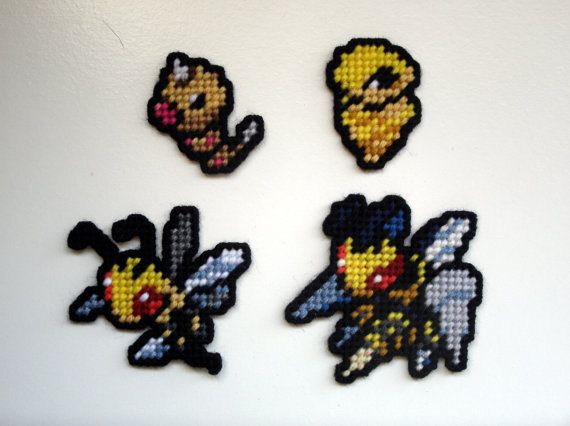 shown here are pokemon sprites based off of weedle kakuna beedrill