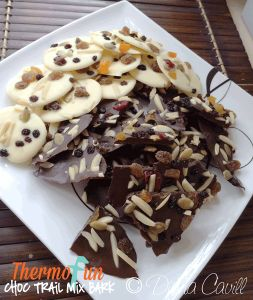 Hi my name is Leonie and I love Chocolate! Thermomix Chocolate Trail Mix Bark is the easiest, quickest snack I think I have ever made in the Thermomix! Great