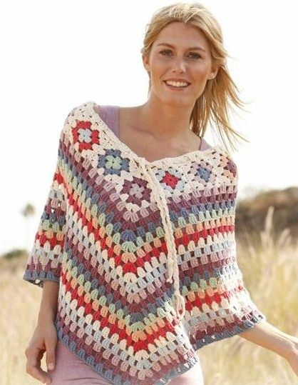 Knitting And Beading Wedding Bridal Accessories and Free pattern: Free Pattern - Crochet DROPS poncho with granny squares