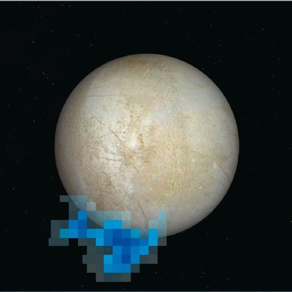 Rendering showing the location and size of water vapor plumes coming from Europa's south pole.