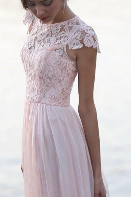 Pink Lace Prom Dress,Short Sleeve Prom Dress,Custom Made Evening Dress,