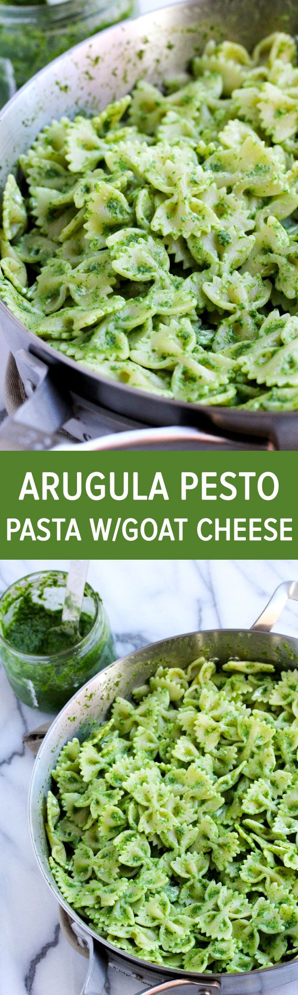 Arugula pesto bowtie pasta topped with creamy goat cheese for a dish that is light and full of flavor