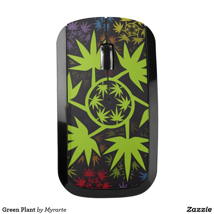 Green Plant Wireless Mouse. Cannabis. Producto disponible en tienda Zazzle. Tecnología. Product available in Zazzle store. Technology. Regalos, Gifts. #optical #wireless #mouse