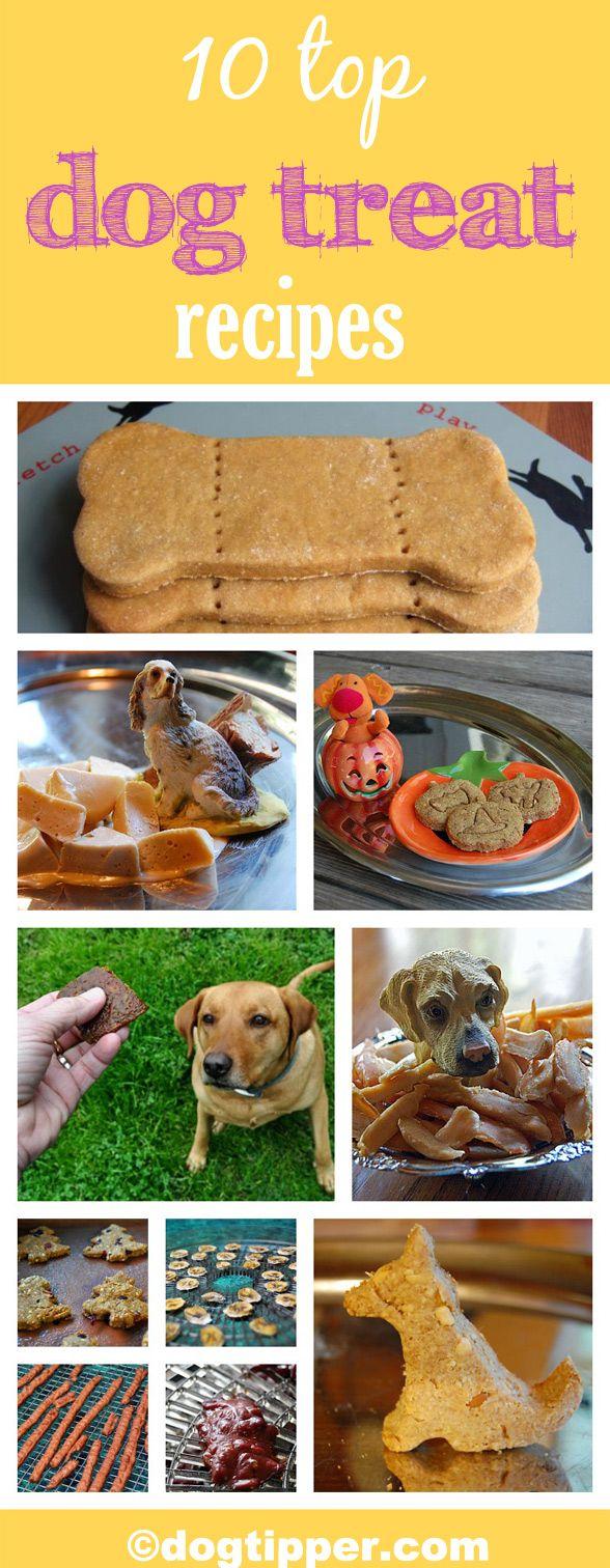 10 easy dog treat recipes! http://www.dogtipper.com/recipes/2012/12/top-10-recipes-of-2012.html