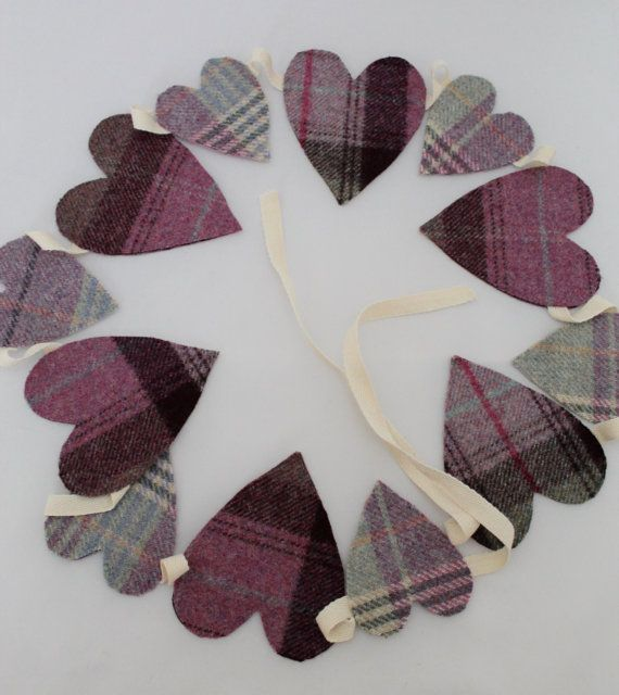 Tweed Heart Bunting in Purple & Lilac or Pink by DaisyBelleShop