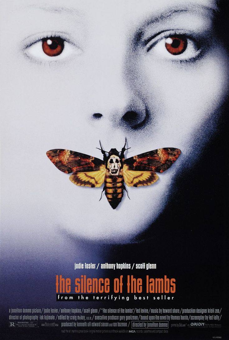 """The silence of the lambs (Academy Award for """"Best Actress"""": Jodie Foster, Academy Award for """"Best Actor"""": Anthony Hopkins, Academy Award for Best Director, Best Adapted Screenplay and Best Picture) - American thriller, based on a novel of the same name, 1991"""