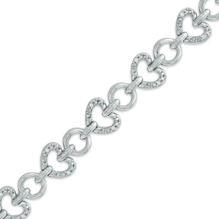 Zales 1/10 CT. T.w. Diamond Heart Link Bracelet in Sterling Silver - 7.25