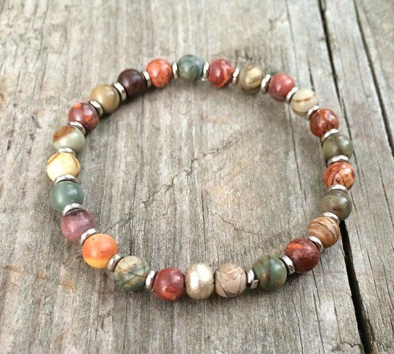 Colorful boho bracelet with silver accents, boho jewelry, stretch bracelet