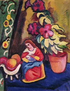 August Macke - Vie avec La Madonne, Petunie et pommes