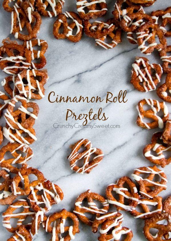 Cinnamon Roll Pretzels Recipe from crunchycreamysweet.com