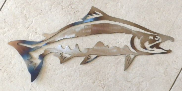 16 inch salmon fish trout rustic cabin metal wall art sign stencil heat colored ebay