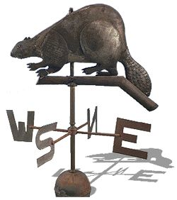 "1957 French-Canadian Weathervane at the Canadian Museum of Civilization, Gatineau - From the curators' comments: ""The beaver is Canada's national emblem, symbolizing the industriousness and perseverance evinced by our ancestors in their struggle to adapt to the harsh Canadian climate."""