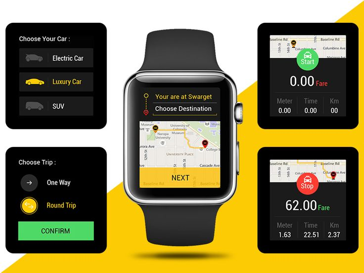 Concept Taxi App for iwatch by Ask Designs