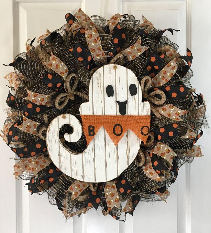 Halloween Wreath, Ghost Wreath, Rustic Wreath, Farmhouse