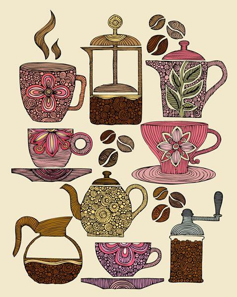 """Have Some Coffee by Artist Valentina Harper."