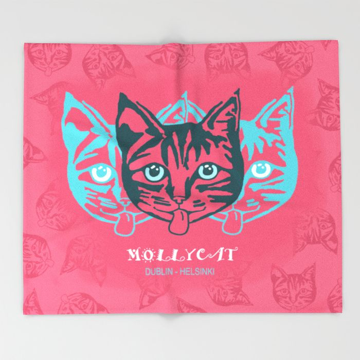 MOLLYCAT - Dublin - Helsinki Throw Blanket. #comfy #blanket #home #furnishings #throwblanket #s6 #society6 #cozy #fleece #plush #soft #mollycat #dublin #helsinki #finland #designer #catseyes #fun #fashionista #eyes #animals #image #pink