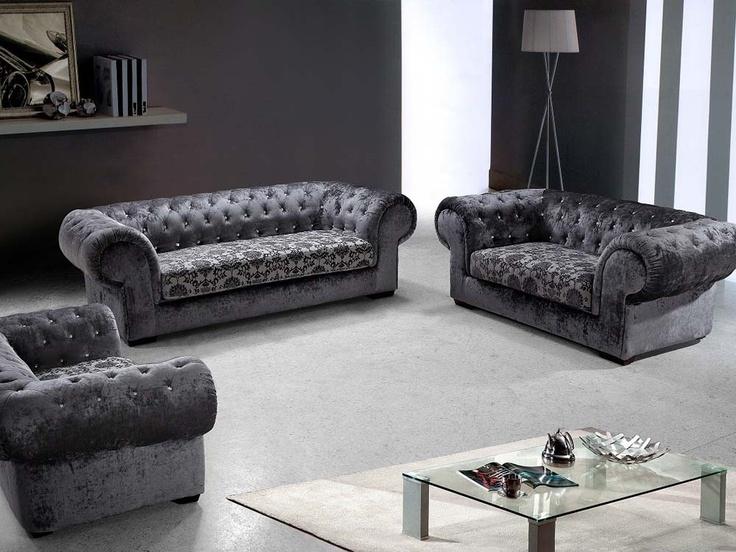 Vig Furniture Divani Casa Metropolitan Modern Fabric Sofa Set With Tufted Acrylic Crystals