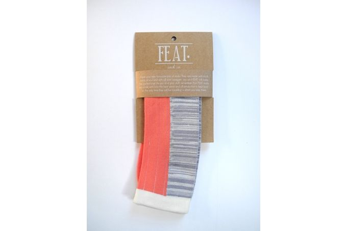 Men's coral/grey/cream ribbed-melange sock by FEAT. sock co.