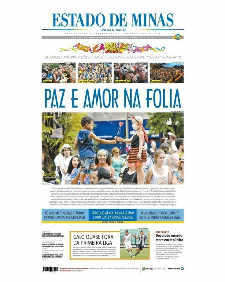 Bom dia! Confira a capa da edição impressa do jornal Estado de Minas desta segunda-feira 08 de fevereiro.  Toque no link deste perfil e saiba tudo sobre o carnaval. #CapaEM #EstadoDeMinas #FrontPage #News #Notícias #PrimeiraPágina by emimagem