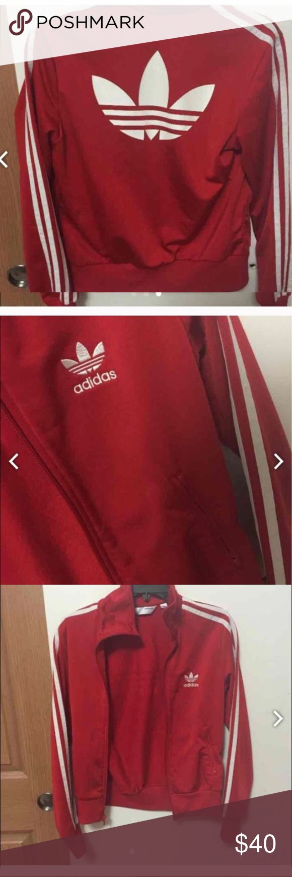 Red Adidas jacket This jacket is a small which fits a bit snug. Flaws all listed and all not noticeable ! adidas Jackets & Coats