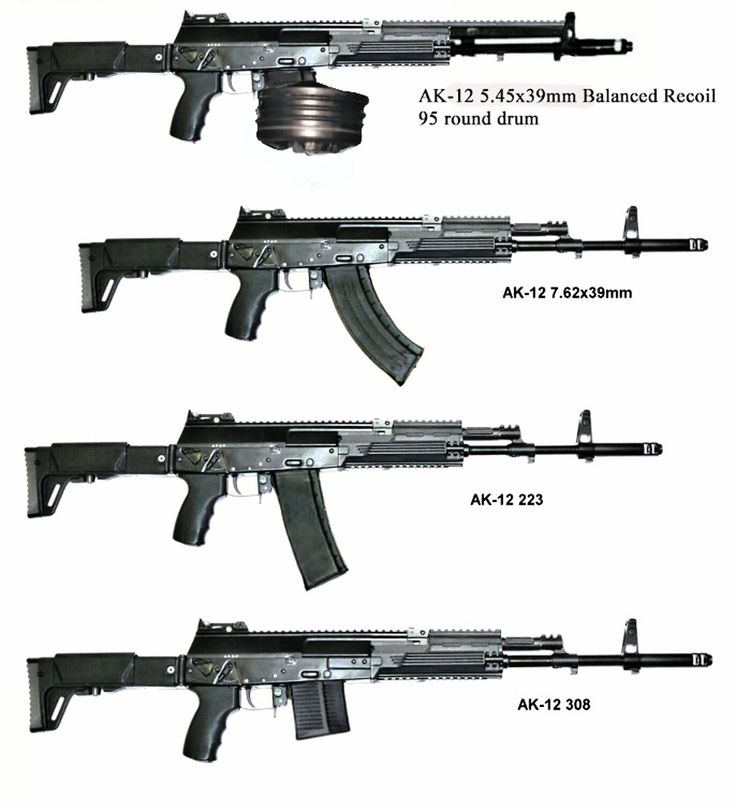 A collection of AK-12 rifles in various calibers. The latest line in the long-running Kalashnikov rifle family, the AK-12 was originally proposed as a new service rifle for the Russian Federation's military. Unfortunately, testing showed that the AK-12 was vulnerable to many faults, and it was passed over. Regardless of this, civilian models for the American market have been made in .223 and 12 gauge.