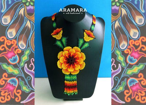 Huichol yellow flowers necklace by Aramara on Etsy (www.etsy.com/uk/people/Aramara)