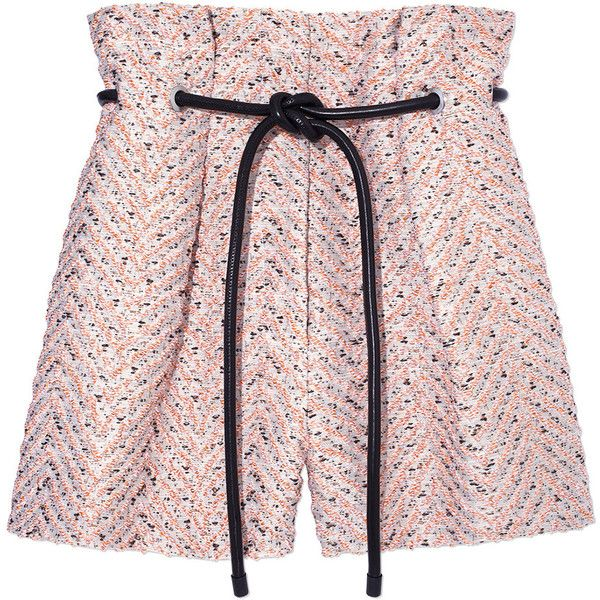 3.1 Phillip Lim Light Pink Tweed 'Origami' Shorts (20.835 RUB) ❤ liked on Polyvore featuring shorts, alabaster, 3.1 phillip lim, light pink shorts, origami shorts, 3.1 phillip lim shorts and tweed shorts