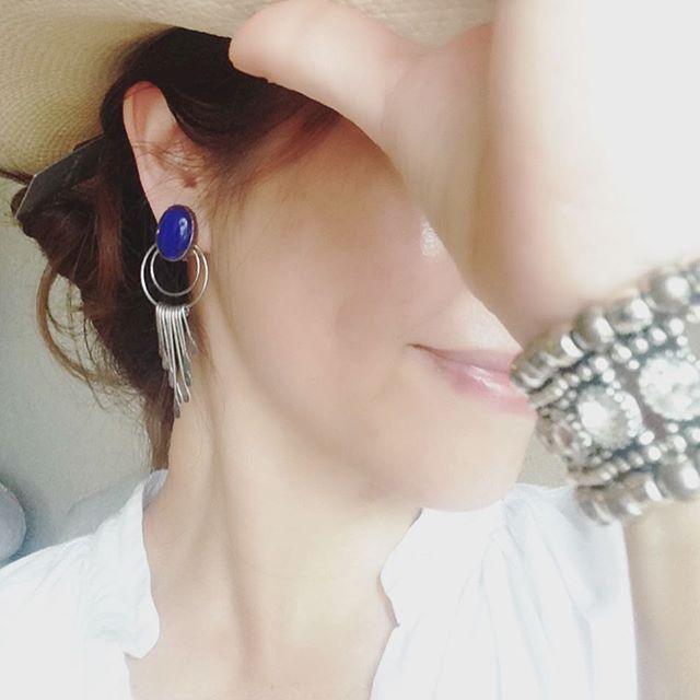 ☆今日のジュエリー☆#sugri のハットおろしたて。#スターリングシルバー のイヤリング #philippeaudibert #ブレスレット でした(*^^*)#jewelryoutfit #earrings #sterlingsilver #strowhat#jewelrylover#jewelrygram#tercoise#フィリップオーディベール#ハット#ターコイズ