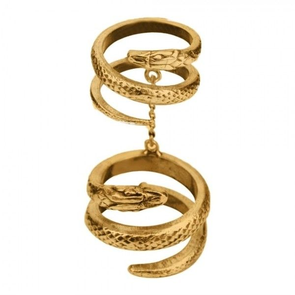 Premium Double Snake Ring Gold ($190) ❤ liked on Polyvore featuring jewelry, rings, adjustable gold rings, 24 karat gold jewelry, 24k gold ring, chain ring and 24k gold jewelry