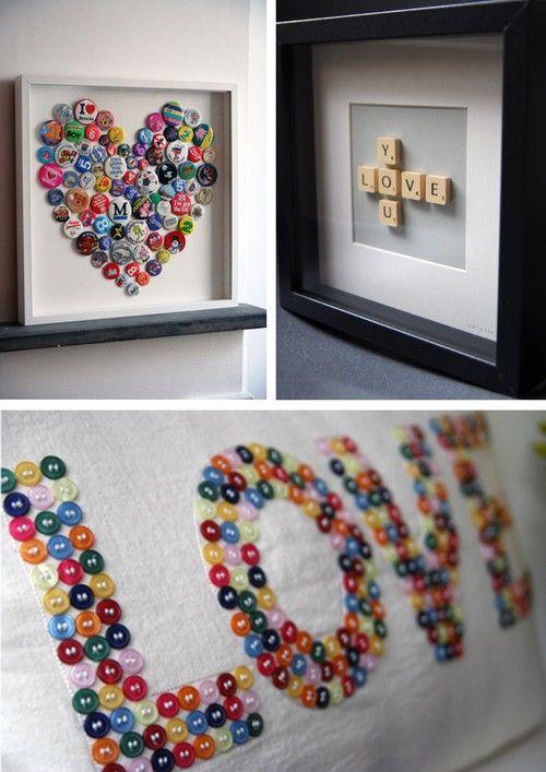 Hjärtan, kärlek, tavla, kudde, paljetter, alfapet, pins