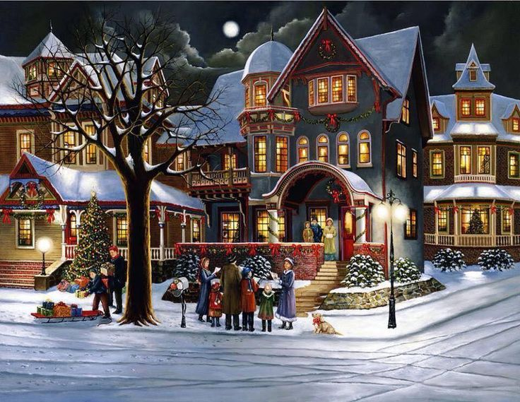 Victorian Christmas In Town Collection 12 Wallpapers