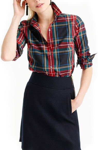 J.Crew Perfect Stewart Plaid Shirt (Regular & Petite) available at #Nordstrom