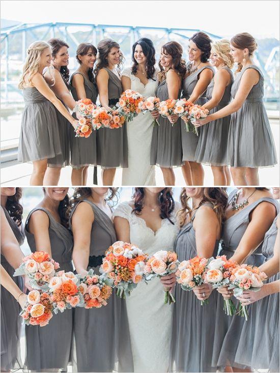 gray bridesmaids dresses #bridesmaids #grayandorange #weddingchicks http://www.weddingchicks.com/2014/03/14/charming-chattanooga-wedding/
