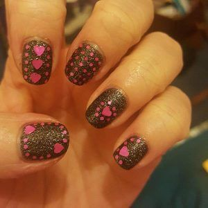 Black and Pink heart nails