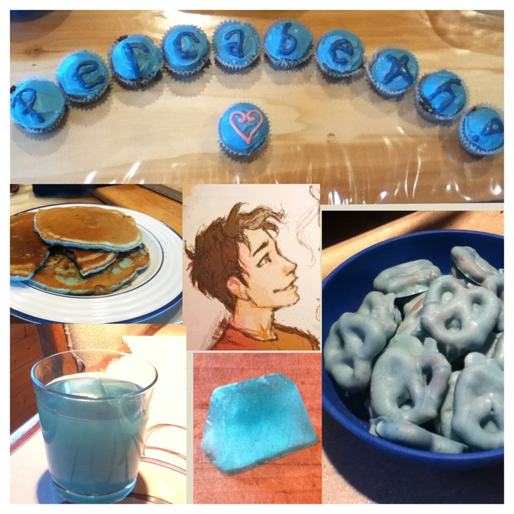 I made all this blue food because Percy Jackson loves blue food! I made cupcakes, lemonade, lemonade ice cubes, and pancakes, white chocolate covered pretzels) This is for you Percy! <3