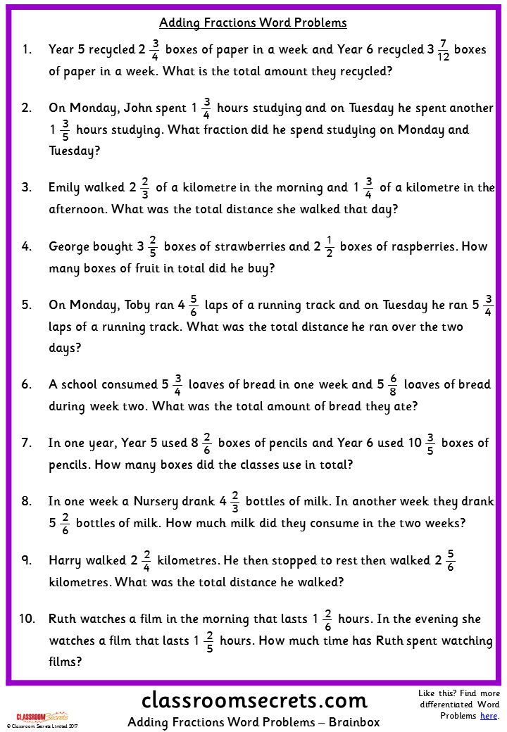 Adding Fractions Word Problems Classroom Secrets Fraction Word Problems Word Problems Addition Words