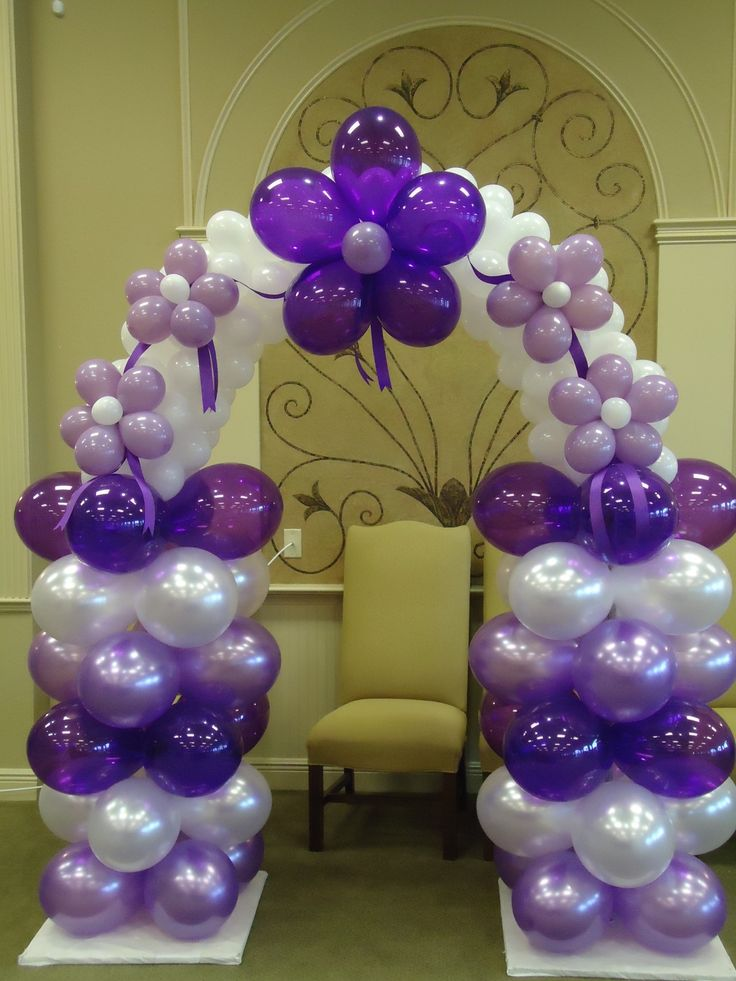 Little purple arch balloons a world of color for Balloon decoration arches