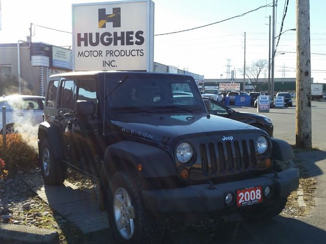 2008 Jeep Wrangler Rubicon SUV, Locking rear differential. Complete with cruise control, complete power package, fog lamps, aluminum wheels, privacy glass, A/C, AM/FM/CD Player with premium sound system, front bucket seats, pass-thru 60/40 split rear seats, swing-away mirrors, outside spare tire carrier, sport bar with padding and more.  Call Shawn at Hughes Motor Products 416-252-1100