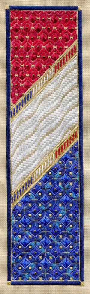"Red, White & Blue Panel 4.5"" x 16.5"" on 18 ct sandstone canvas Pattern: $16.00 (includes beads) - by Laura J Perin Designs"