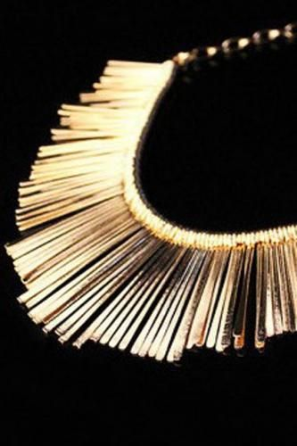 Chic Glossy Gold-tone Tassels Necklace