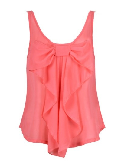 Pretty.: Front Tops, Color, Chiffon Bows, Bows Tanks, Bows Shirts, Tanks Tops, Pink Bows, Bows Tops, Bows Front