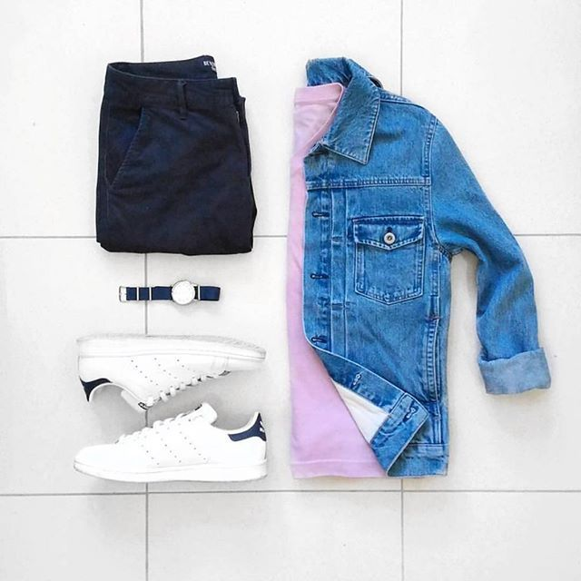 Follow @theshoegrid for daily style #SuitGrid to be featured  _______________________ #SuitGrid by: @jeromeguerzon _______________________  Tap For Brands #inisikpe Denim Jacket: @hm Shirt: @uniqlo Trousers: @giordanoph Shoes: @adidasoriginals Watch: @casio.watches