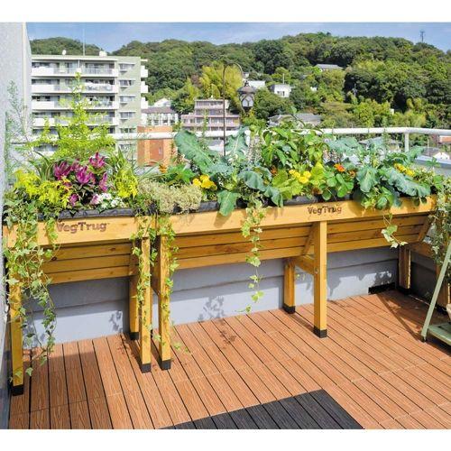土のない限られたスペースでも 本格的な菜園ができます。独特のV字形状により、葉ものや根菜などの野菜が一緒に栽培できます。スペースのないお庭や、ベランダにもおすすめのイギリス生まれの木製コンテナです。