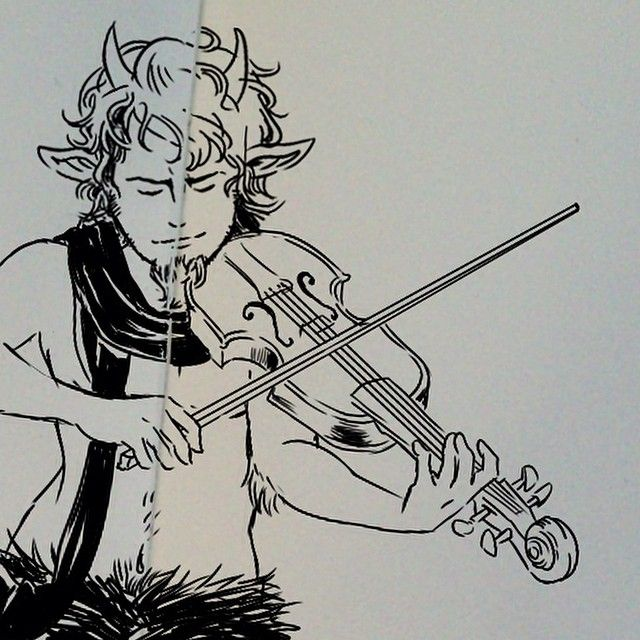 Did you know that Satyrs are skillful musicians? :3 Mr. Tumnus quickie #art #drawing #illustration #design #graphicdesign #narnia #tumnus #traditional #ink #music #violin #satyr #fantasy #moleskine #doodle #sketch #sketchbook #study #brazil #artist