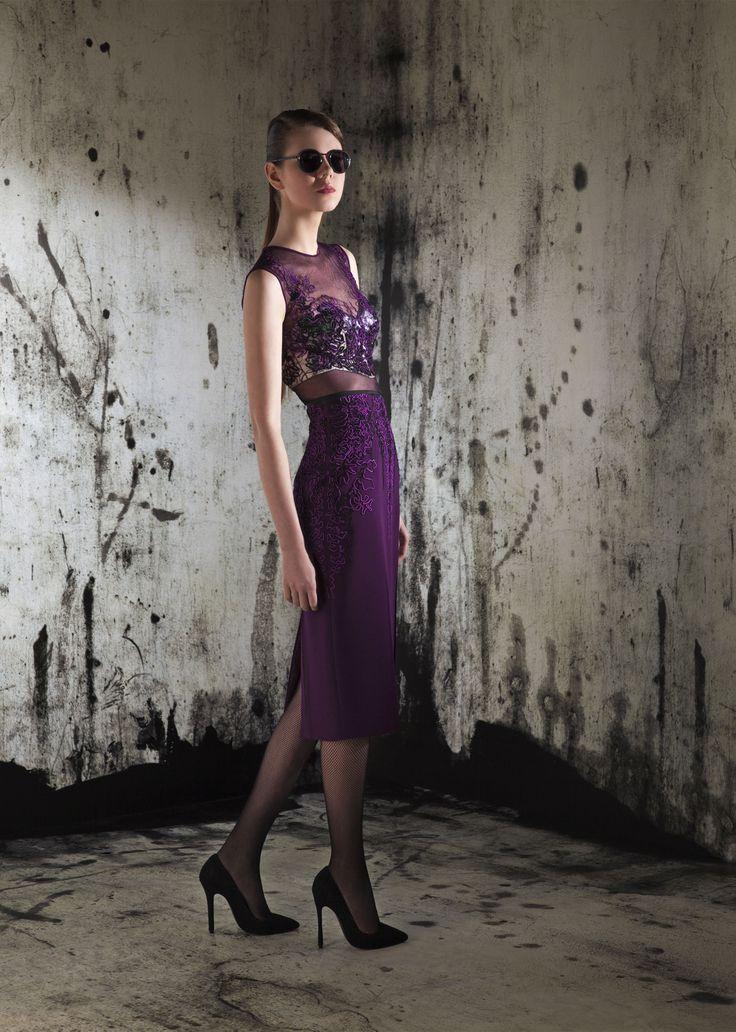 Purple cocktail dress embroidery designer fashion