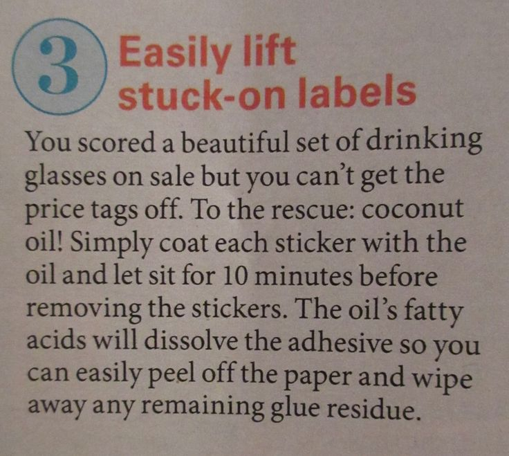 Use coconut oil to remove sticky labels